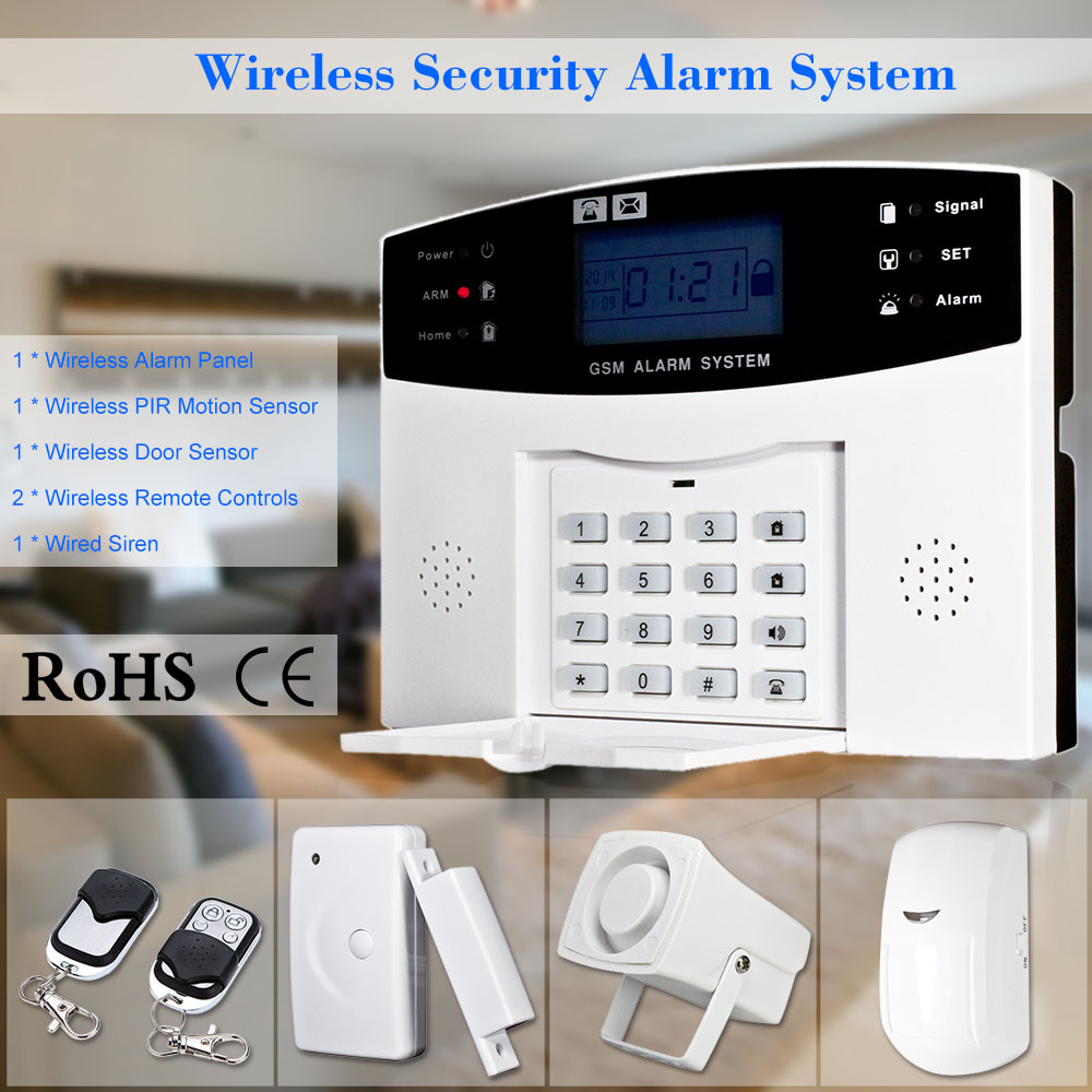 Metal Remote Control Voice Prompt Wireless door sensor Security Home GSM Alarm systems LCD Display Wired Siren Kit 8 Wired Zone(China (Mainland))