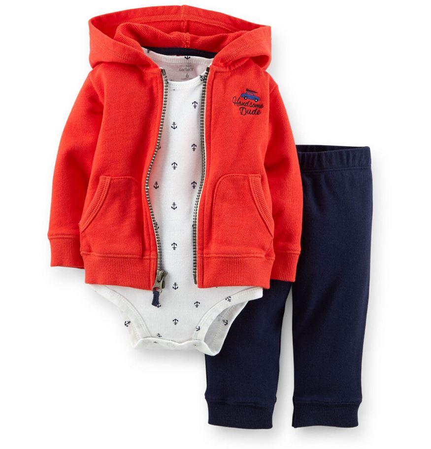 Original Carters Baby bebes Boys Girls clothes,Carters kids Model Cardigan+Bodysuit+Pants 3pcs/Set, Baby infant Clothing Set(China (Mainland))