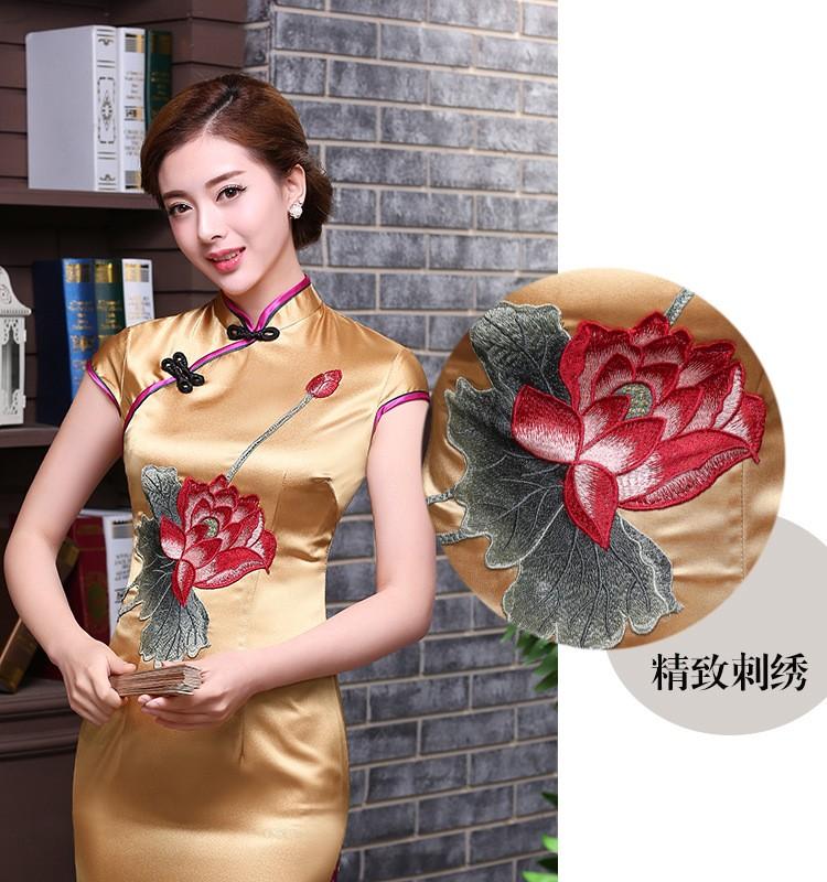 ยุโรปวินเทจสตรีผ้าไหมซาตินยาวC Heongsamแฟชั่นสไตล์จีนชุดที่สง่างามQipaoขนาดSml XL XXL XXXL F101002 ถูก