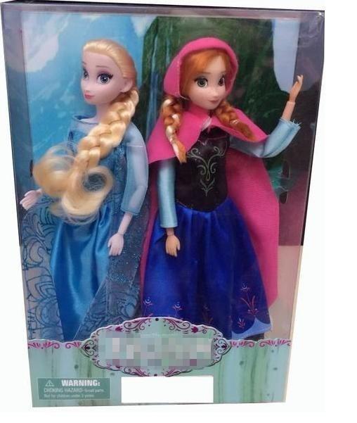 2pcs/lot Anna elsa dolls for girls princess children toys 33cm baby classic toys Joint Moveable elsa dolls gilf kids boneca elsa(China (Mainland))