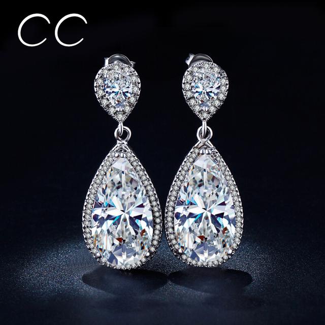 Роскошные капли воды свадебные длинные серьги для женщин CZ мотаться серьги мода ну вечеринку свадебные украшения кристалл MSE040