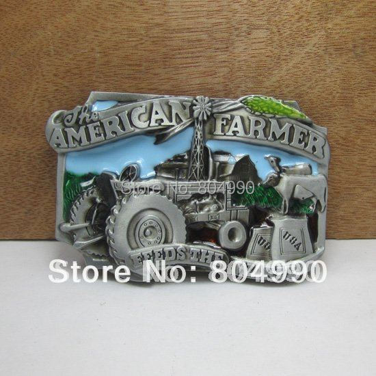 American farmer belt buckle with pewter finish FP-02483 Wholesale brand new belt buckle with continous stock(China (Mainland))