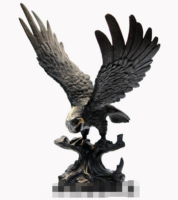 16'' China Exquisite Pure Brass Wings Flying Eagle Hawk Stand Statue R0713(China (Mainland))