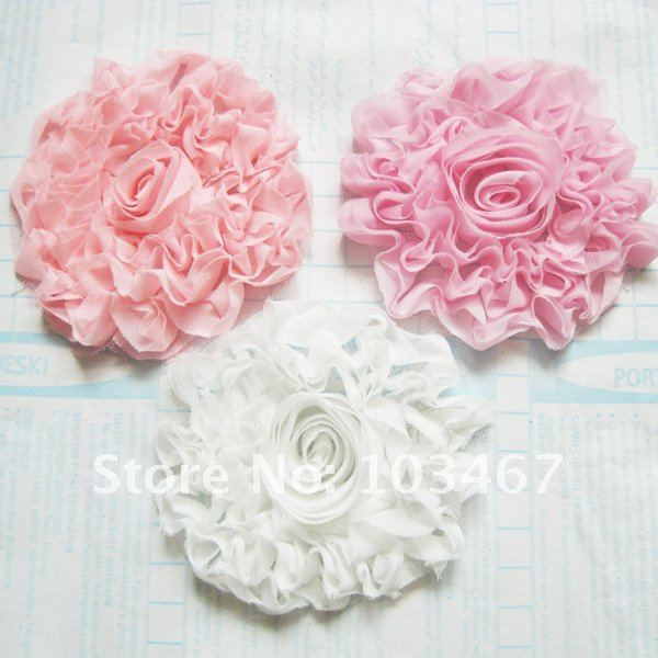 24pcs/lot 9cm chiffon rose flowers 3 colors cloth flowers free shipping hand made flower