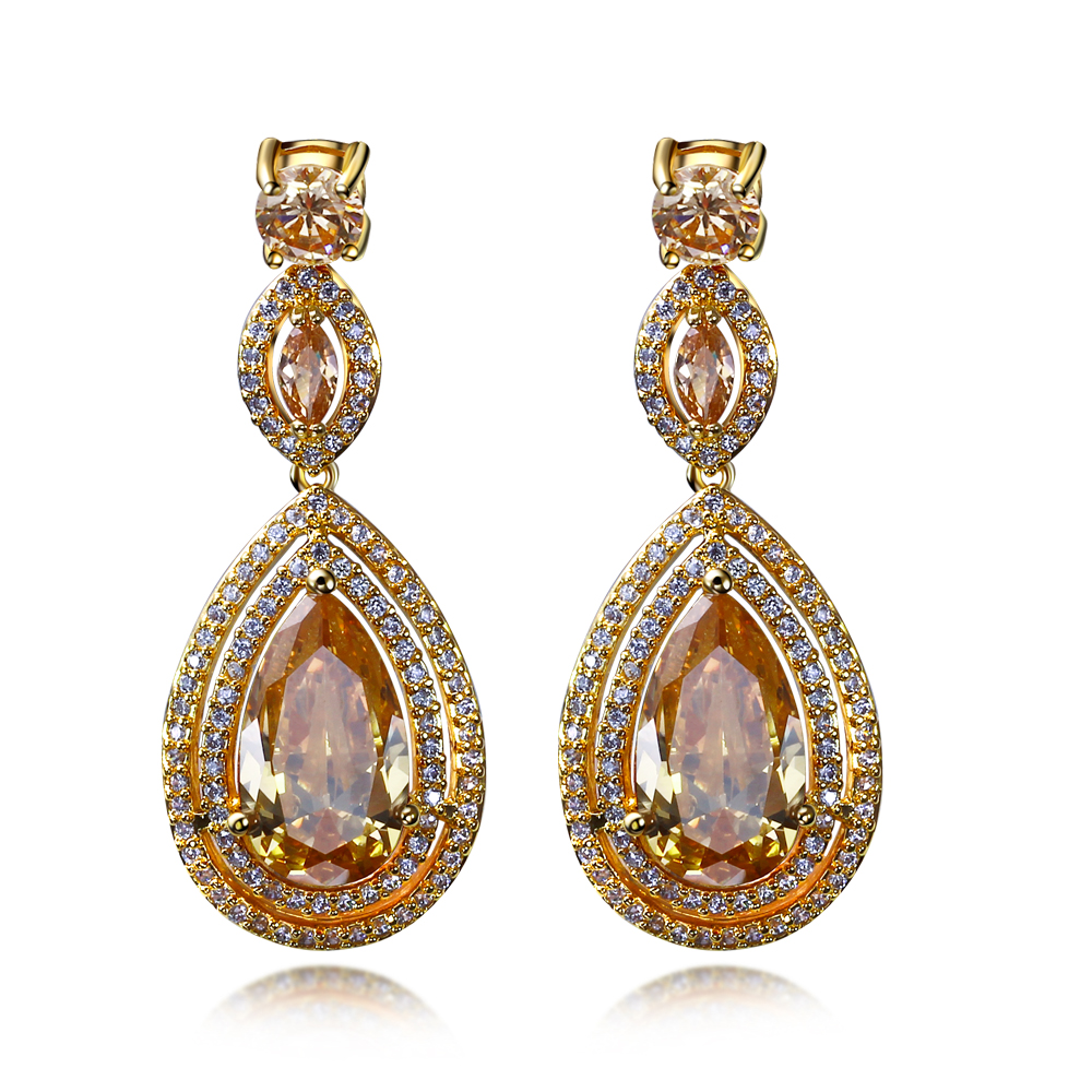 New Bontique 2016 New Earrings, Water Drop Shape with Big CZ Gold plated, Earrings for party(China (Mainland))