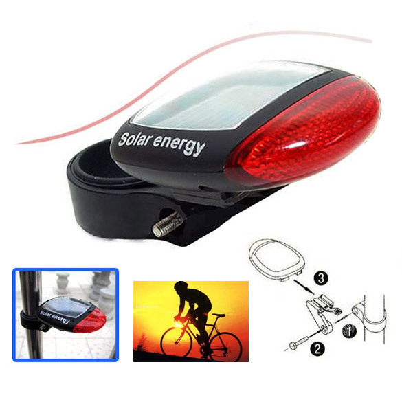 New Hot Solar Power LED Bicycle Bike Rear Tail Lamp Light Red Free Shipping(China (Mainland))