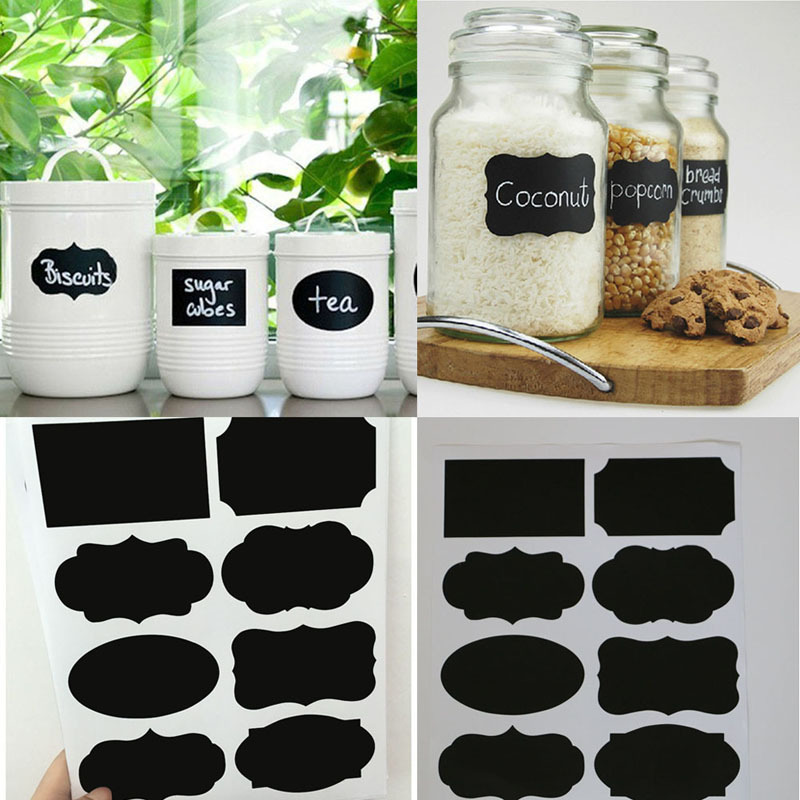 40Pcs/lot Chalkboard Lables New Wedding Home Kitchen Jars Blackboard Stickers Multi Size Wholesale Retail(China (Mainland))