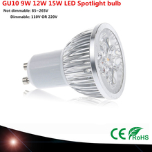 1 pcs Super lumineux 9 W 12 W 15 W GU10 LED ampoule 110 V 220 V Dimmable LED projecteurs chaud / Natural / Cool White GU 10 LED lampe(China (Mainland))