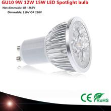 1 stücke Super Helle 9 Watt 12 Watt 15 Watt GU10 Led-lampe 110 V 220 V Dimmbare Led-strahler Warm/Natural/Cool White GU 10 led-lampe(China (Mainland))