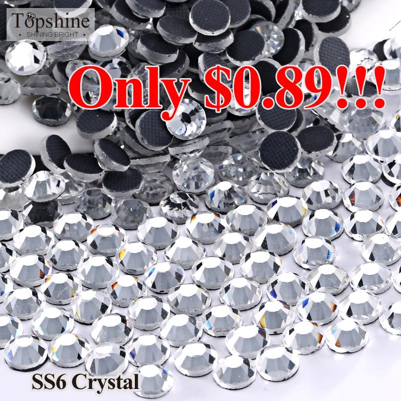 $0.89 !!! SS6 Crystal Clear Hotfix Flatback DMC Glass Heat Transfer Hot Fix Rhinestones For Wedding Dress(China (Mainland))