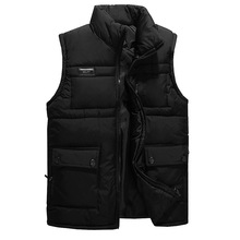 New Winter Men's Solid Color Cotton Vest Jacket Thick Warm Casual  Down Vests Waistcoats Male Jackets Coats G1340(China (Mainland))
