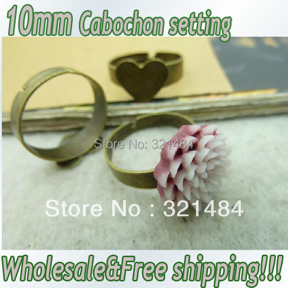 Hot Sale!!! 200pcs Vintage antique brass/bronze Adjustable Ring base blank bezel 10x10mm heart glue pad cabochon setting