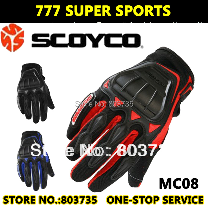 Hot Promotion Motorcycle Glove Full Finger Leather Protective Cover Gloves Black/Red/Blue Guantes Scoyco MC08(China (Mainland))