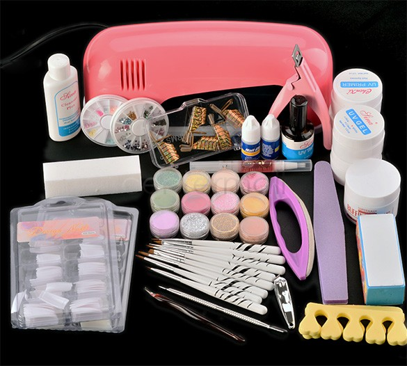 Nail Art Manicure Decoration 9W UV Gel Tool Lamp Brush Remover Nail Tips Glue Acrylic Kits Set US Plug 18(China (Mainland))
