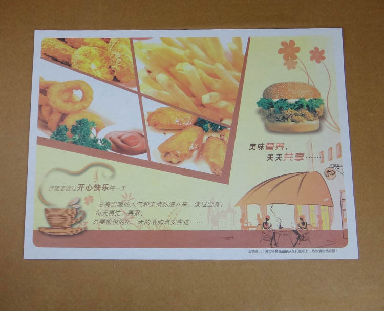 1000pcs of disposable custom printed paper placemat A3 size 42*28cm/16*11inch PPT1-1000(China (Mainland))