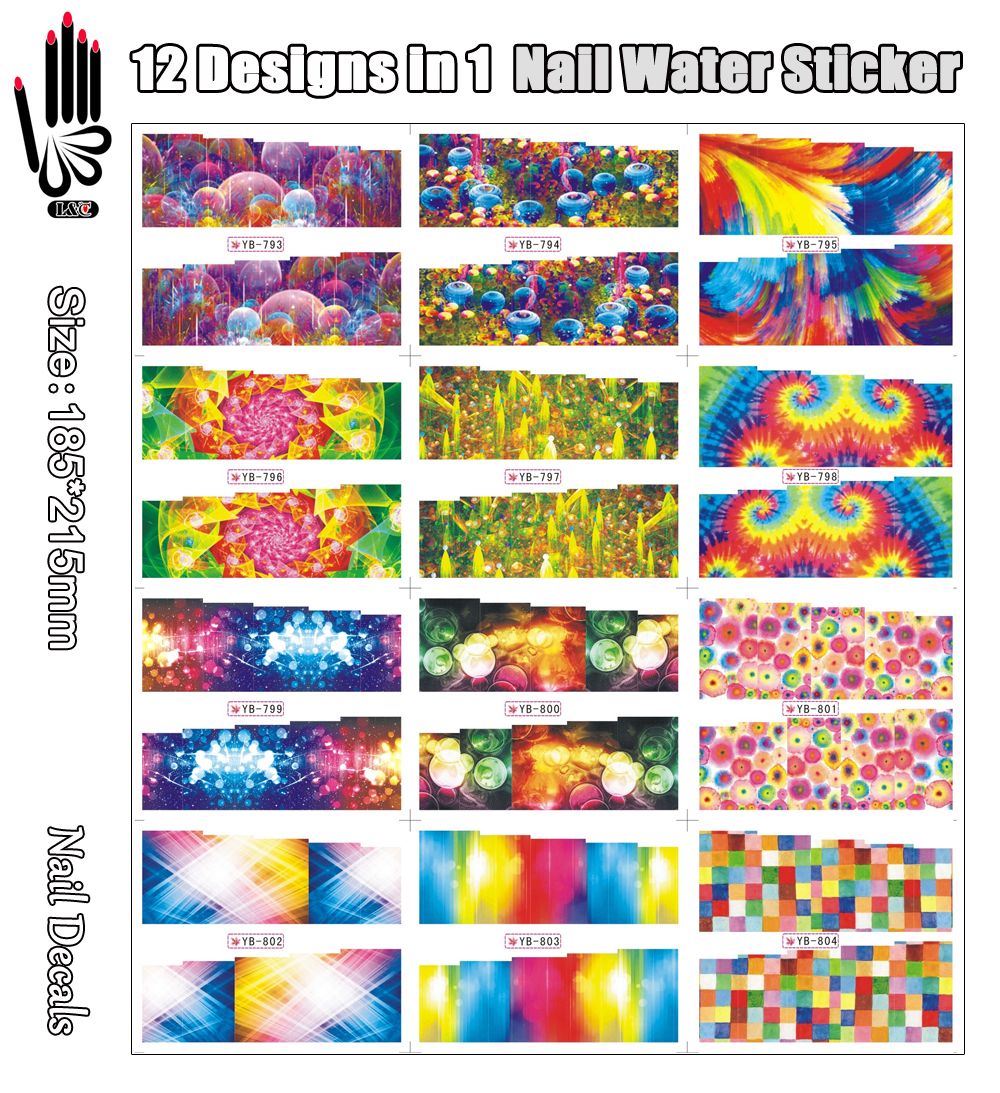 12 Sheets/Lot Nail Water Decal YB793-804 Full Cover Dream Blue World Nail Art Water Transfer Sticker For Nail(12 DESIGNS IN 1)(China (Mainland))
