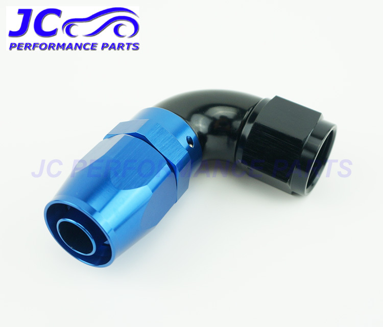JC Performance Parts - AN8 -8 AN 90degree full flow one piece oil cooler fitting hose end adapter swivel type blue/black