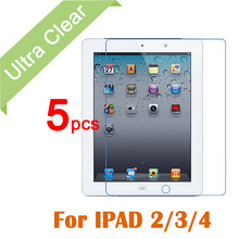 5pcs/lot New Clear HD Glossy LCD Screen Protector For Apple iPad 2 3 4 Tablet PC Transparent Screen Protective Film +cloth