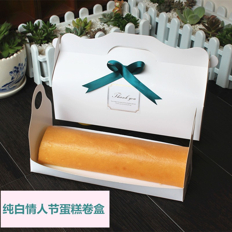 Korea Syle 27.5*10*7cm blank white paper cardboard cake roll Macaroon for  packaging with handle - us609