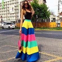 Women Long Skirt Colorful Fashion Skirt Striped fashion Floor Length Skirt Spring Skirt(China (Mainland))
