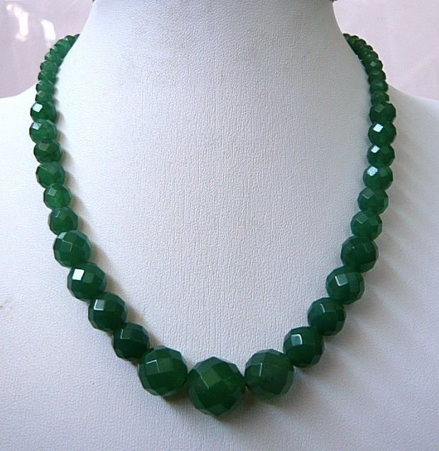 6-14mm Faceted Natural Emerald Round Beads Necklace Fashion Jewelry Rope Chain Necklace Beads Natural Stone Girl Gift 18inch(China (Mainland))