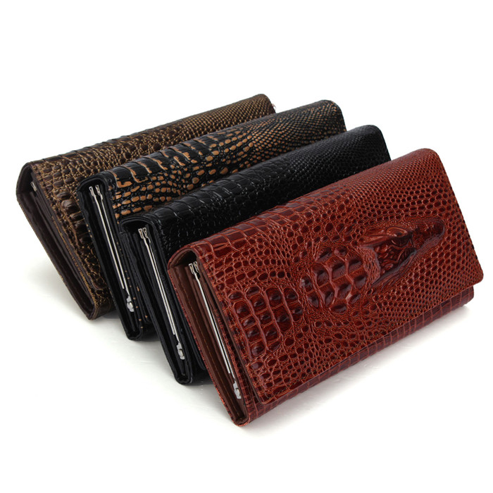 2015 Hot Sales New Wallets 3D Crocodile Pattern Embossed Model Leather Participants Female Money Coin Purses 1pcs(China (Mainland))