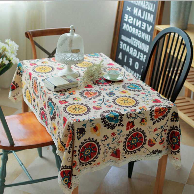 2016 popular traditional chinese table cloth cotton sun flowers dustproof table cloths for rectangular home wedding decoration(China (Mainland))