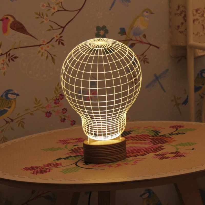 Free Shipping 1Piece 3D Wood Mood Lamp Bulbing Light Bulb Micro USB Table Lamp