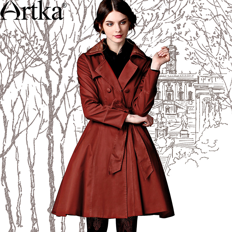 Artka Women'S Autumn Vintage Turn Down Collar Full Sleeve Lace Patchwork Expansion Bottom Double Breasted Coat FA10249Q 1022