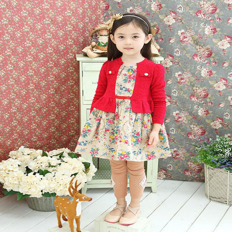 Hot Sale New arrive Autumn Girl cotton Clothing Dress, kids girl long sleeve baby flower dress,  free shipping G-30<br><br>Aliexpress