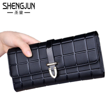 Brand Women Clutch Wallet Plaid Genuine Leather Ladies Purse Multi-colored Checkbook Phone Holder Business Card Wallet WQB-029
