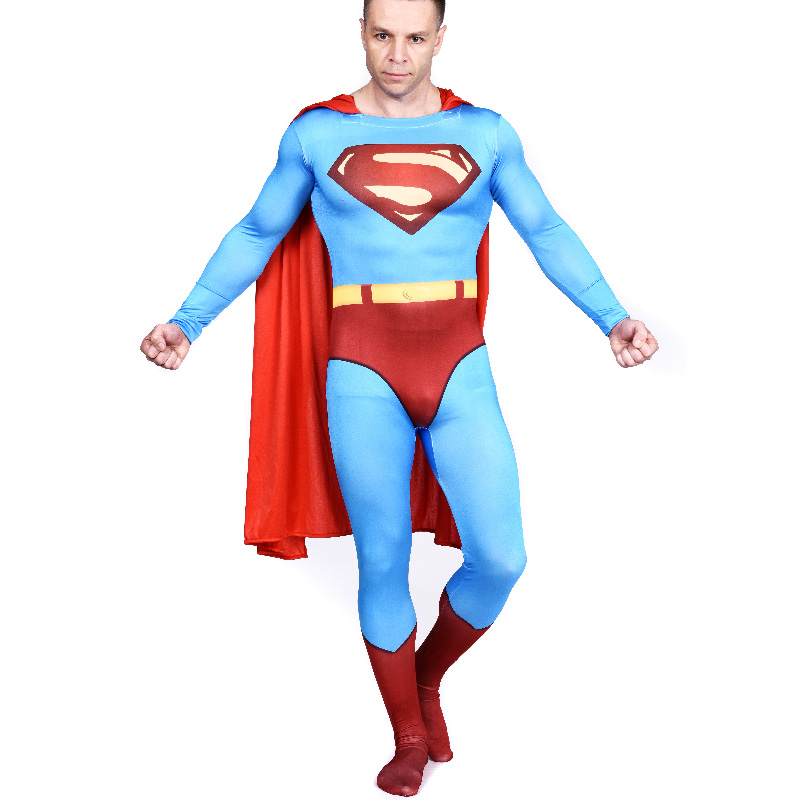 made of Lycra Spandex classic Red/& Blue NEW.Adult Superman Costume Skin-tight