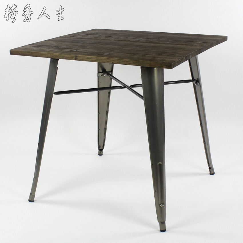 Antique vintage industrial loft style square table  : Antique vintage industrial loft style square table Creative Coffee wood and metal table IKEA dining table from www.aliexpress.com size 850 x 850 jpeg 75kB