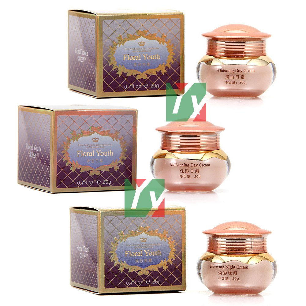 wholesale  New Product Floral Youth Skin Care Whitening moisturizing Day &amp; night cream 20+20+20g  3pcs/set<br><br>Aliexpress