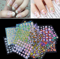 10 sheets Floral Design 3D Nail Art Stickers Transfer Decals Mixed Designs DIY Tips Decoration Tools