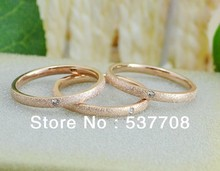 Fashion Jewelry 18K Rose Gold Stainless Steel Golden Dull Polish Single Crystal Wedding Engagement Band Rings Gift Accessories(China (Mainland))