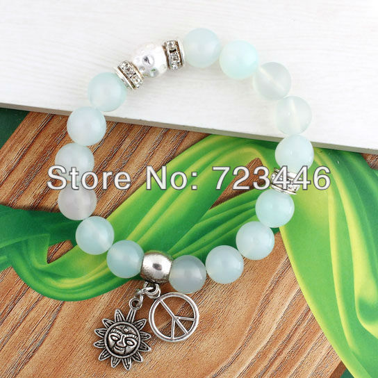 10mm Agate Turquoise Natural Stone Round Beads Charm Bracelet Bangle Accessories Sun Peace Symbol Fashion Jewelry 10pcs(China (Mainland))