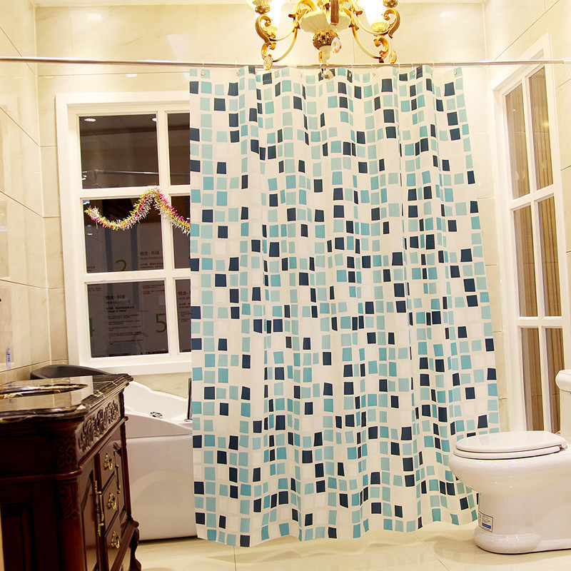 Blue plaid shower curtain 2
