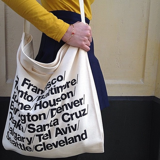AA vintage American Apparel blue woven cotton city bag with strap canvas letter Shopping Bag yy513(China (Mainland))