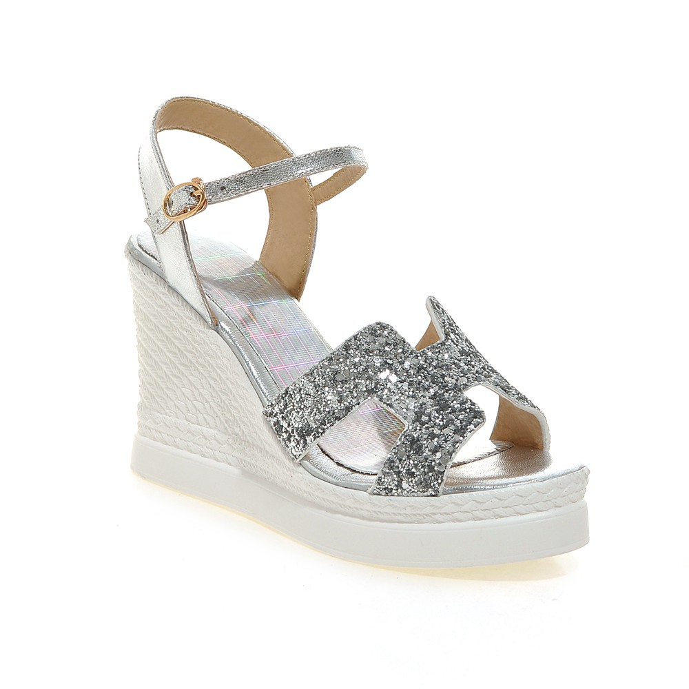 2016 sexy summer women high heel shoes sweet Peep Toe Glitter decoration silver pumps large size 34-43 platform wedges Sandals(China (Mainland))