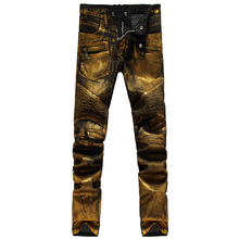 Gold Color printing 2016 Men's Fashion Jeans Heavyweight Painting Close-fitting Zip Long Pants Slim Pencil Jean Male Jeans 28-38(China (Mainland))