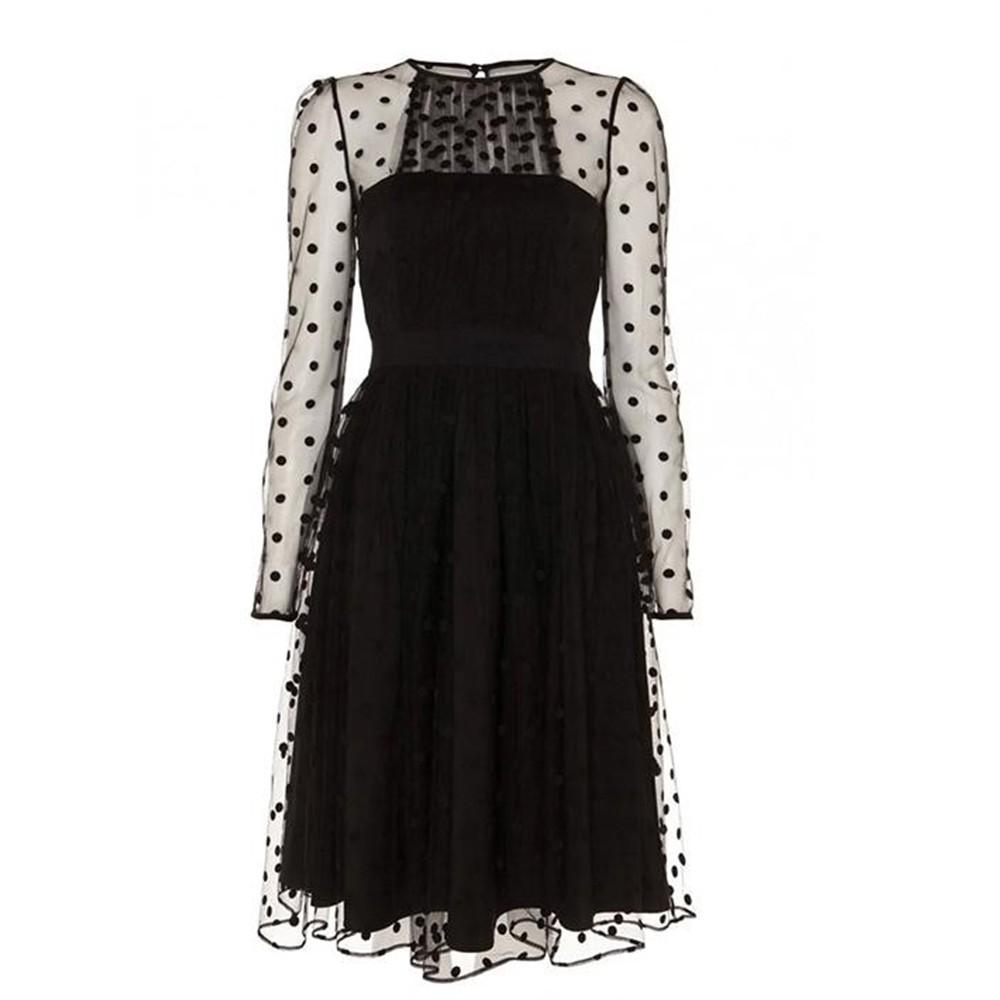 2016 Spring Net Yarn Dresses Party Elegant Polka Dot Dresses Sheer Design Long Sleeve Midi Mesh Transparet High Quality W850449 (6)