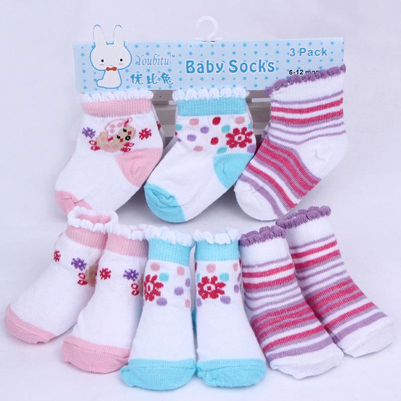 3 Pair/lot Cotton Baby Boys Girls Socks Toddler Newborn Floor Cotton Kids Socks Baby Clothing