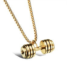 Men's Fashion Popular Jewelry Silver / Gold / Black Stainless Steel Dumbbell Pendant Necklace Cool Man Charm Accessories GX1023(China (Mainland))