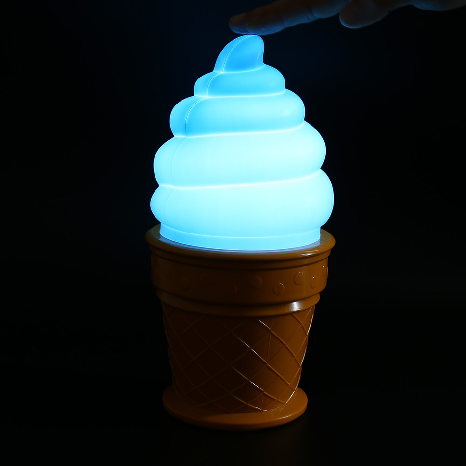 2016 New Magic Ice Cream Lamp Led Lamp Attractive Night Light For Children Kids Cone Shaped
