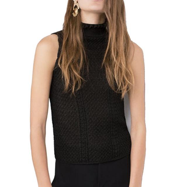 Женская мода водолазка без рукавов вязаный пуловер эластичный сладкий свитера Roupas ...