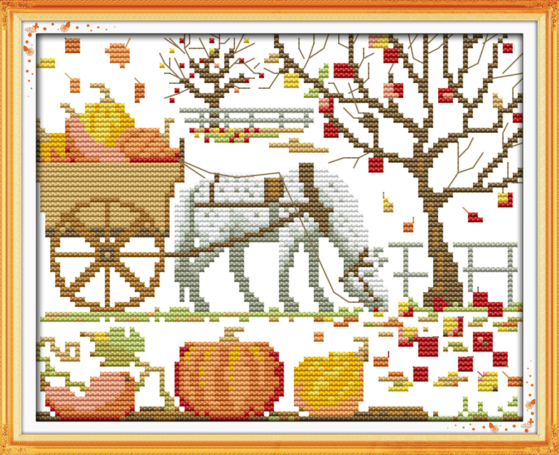 Magical pumpkin scenery home decor canvas Cross Stitch kits DMC 14ct white 11ct print embroidery DIY handmade needlework wall(China (Mainland))