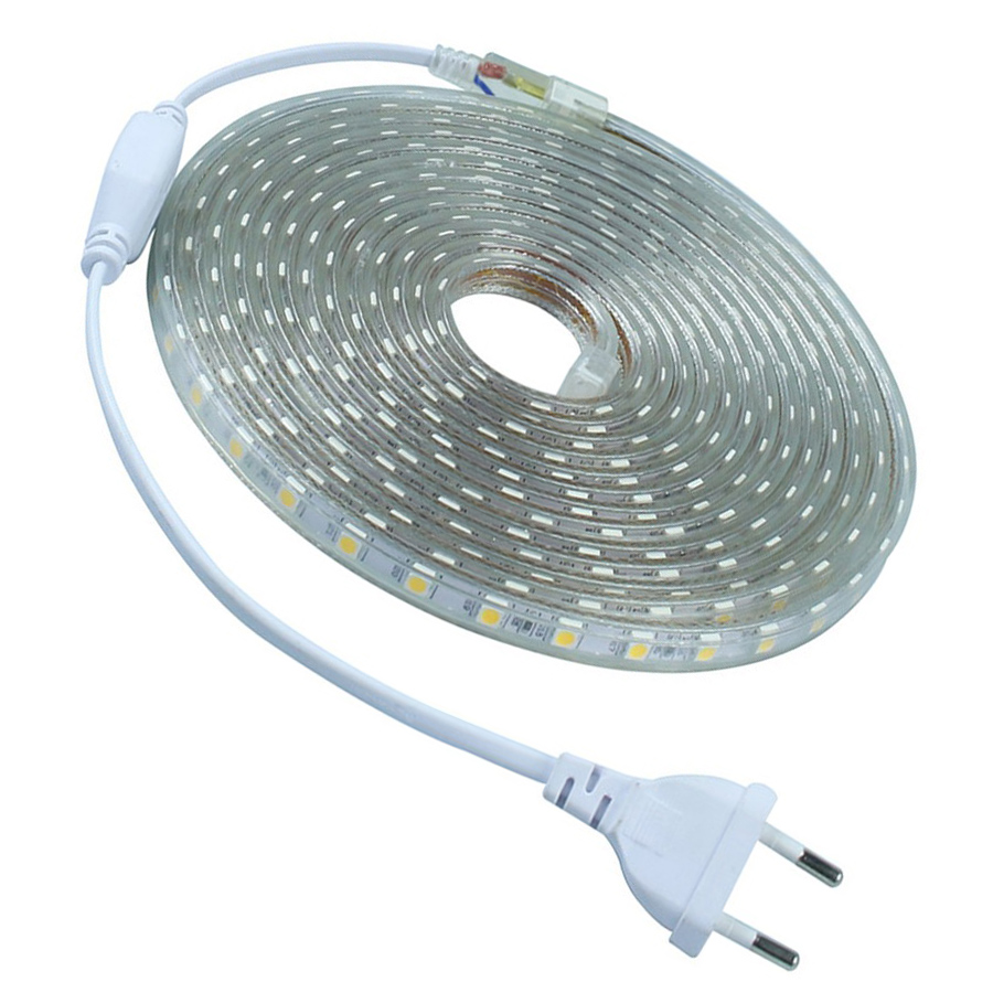 220V 5M 10M LED Strip 5050 LED Ribbon Waterproof IP67 Brighter than 5630 2835 3528 LED Tape White Warm White Red Green Blue(China (Mainland))