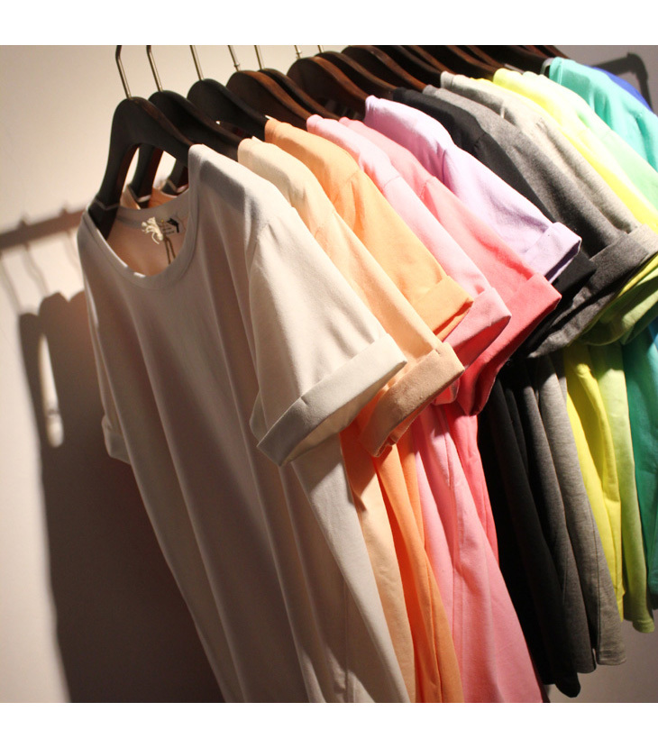 2015 Women Summer Cotton Loose Simple All Match O-neck T-shirt Ice Cream Color Roll Up Basic Tee 9 Colors(China (Mainland))
