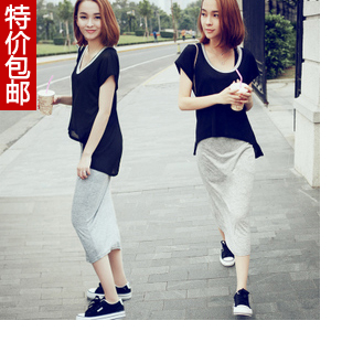 Fashion casual sports slim one piece one-piece dress cotton patchwork long thin paragraph slim hip short-sleeve jumpsuit full